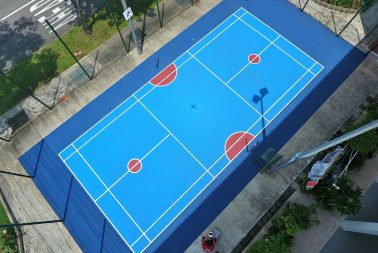 Acrylic surface coating for outdoor flooring