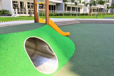 Cast-in-situ rubber flooring supplier for walkways in Singapore